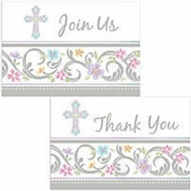 Blessed Day Cross Invitations 8 ct  Baptism or Christening Pastel Party - $4.94