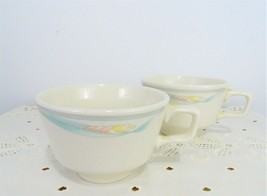 Set of 2 Homer Laughlin tea cups, HLC USA Pink and Green vintage flower cups - $23.76
