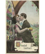 Vintage Postcard Man Kisses Woman Stained Glass Window A Sealed Contract... - $8.90