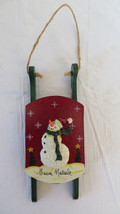 Christmas Wooden Sleigh with Snowman on it - $5.89