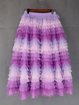 Hot Pink Purple Gray Purple Women Tier Tulle Skirts Mesh Skirt Full Midi Skirts image 6