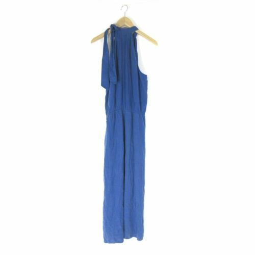 M - Cloth & Stone Anthropologie Blue Halter Tie Neck Sleeveless Jumpsuit 0000MB image 3
