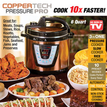 CopperTech Pressure Pro Deluxe 6 Qt Pressure Cooker As Seen On TV Copper... - £73.34 GBP