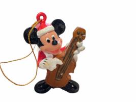 Mickey Mouse Santa Playing Cello Disney Plastic Christmas Tree Ornament  - $12.99