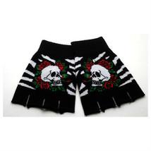 Black & White Stripes Skull & Roses Design Punk Rock Goth Fingerless Gloves - $7.99