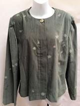 Leslie Fay 16P Jacket Green Faux Suede Floral Fashion Blazer Career Petite - $17.62