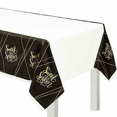 "Primary image for ""Sweet Sixteen"" Birthday Black and Gold Party Plastic Table Cover 54"" x 102"""