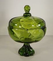 Viking Glass EPIC TWIST Covered Compote Green Drape - $29.65