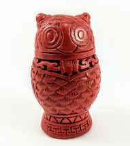 1988 The Franklin Mint Owl Figurine Clay Red Detailed Statue - $23.19
