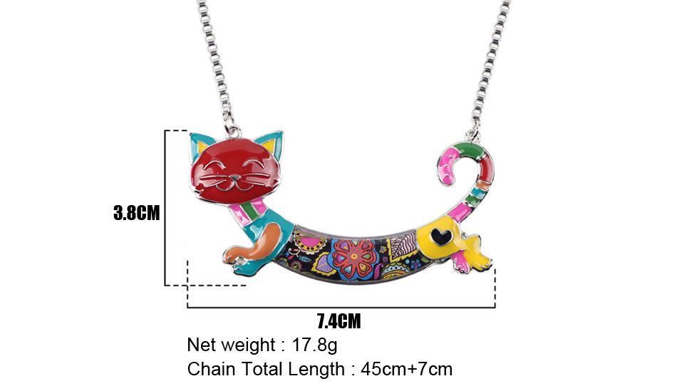 Bonsny Cute Happy Enamel Ladies Cat Themed Necklace / Choker image 7