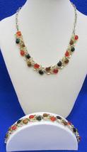 Necklace & Bracelet Set Leaf Vine & Cabochon Gold Tone Metal Vintage Choker - $18.80