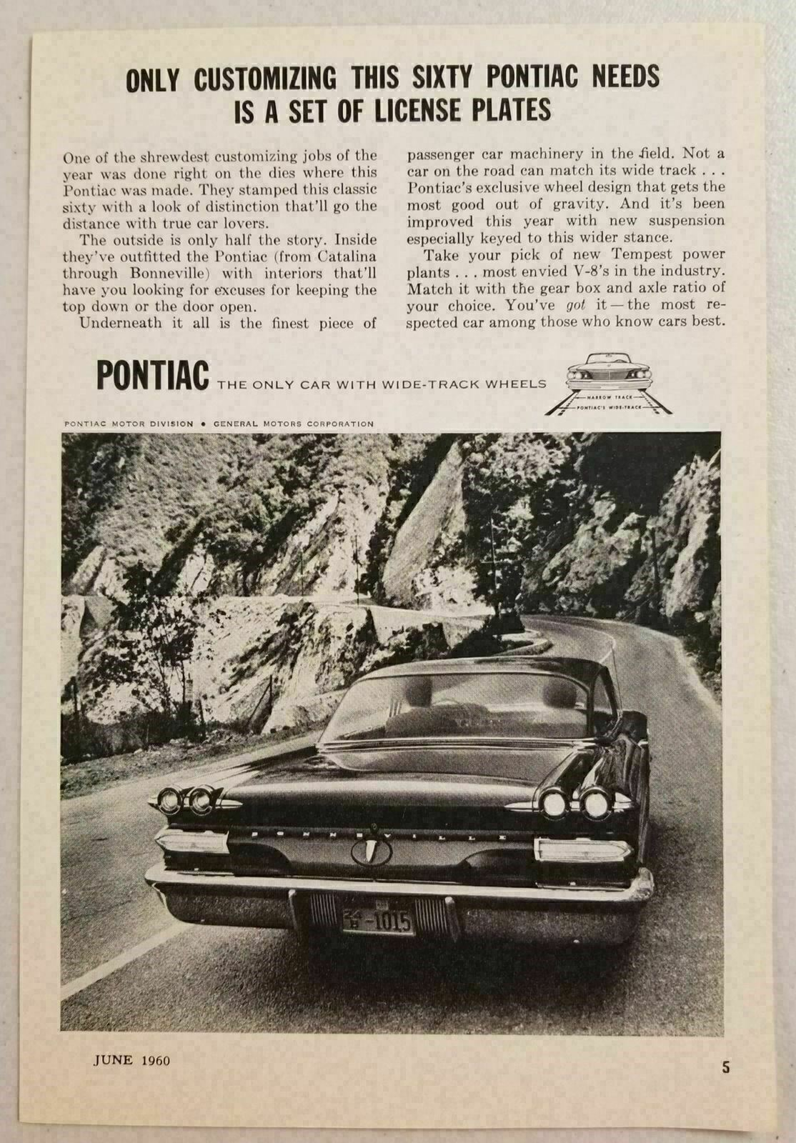 Primary image for 1960 Print Ad Pontiac Bonneville Wide-Track Cars General Motors
