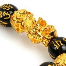 1 x Black Obsidian Feng Shui Pi Xiu Bracelet Beads Attract Good Luck Wealth  image 4