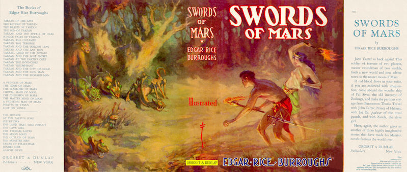 Burroughs, Edgar Rice SWORDS OF MARS facsimile dust jacket  1st Grosset Edition