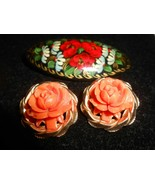 ✨ Vintage lot 3 brooch pins flowers & Asian designs - $14.84