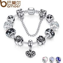 BAMOER 4 Colors Silver Heart Charm Bracelet Silver with Safety Chain & B... - $14.29