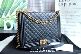 AUTHENTIC CHANEL BLACK QUILTED GLAZED CALFSKIN LARGE BOY FLAP BAG RECEIPT GHW image 2