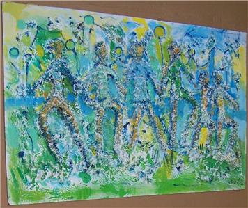 """Original Untitled """"FAMILY"""" Mixed Media Abstract Art Painting- Signed by Artist S"""