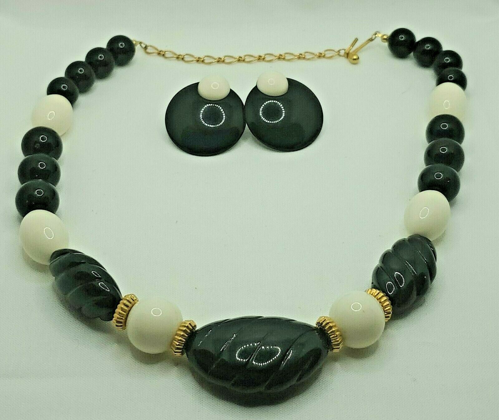 "Primary image for Fashion Jewelry Black Cream Bead Gold-tone 17"" Necklace & Pierced Earrings Set"
