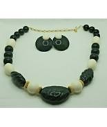 "Fashion Jewelry Black Cream Bead Gold-tone 17"" Necklace & Pierced Earrin... - $14.24"