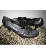 Nine West Black Heel Shoe Leather Upper Faux Fur Tops Size 6.5 New - $29.99