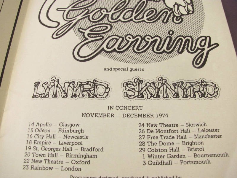 lynyrd skynyrd 1974 second helping uk tour concert program w golden earring lynyrd skynyrd. Black Bedroom Furniture Sets. Home Design Ideas