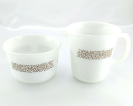 Pyrex 722 Creamer & Sugar Bowl Woodland Pattern Milk Glass Vintage Made ... - $16.95
