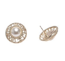 Authentic CHANEL 2019 CC Logo XL Pearl LETTER LOGO STUD Earrings Gold  image 2