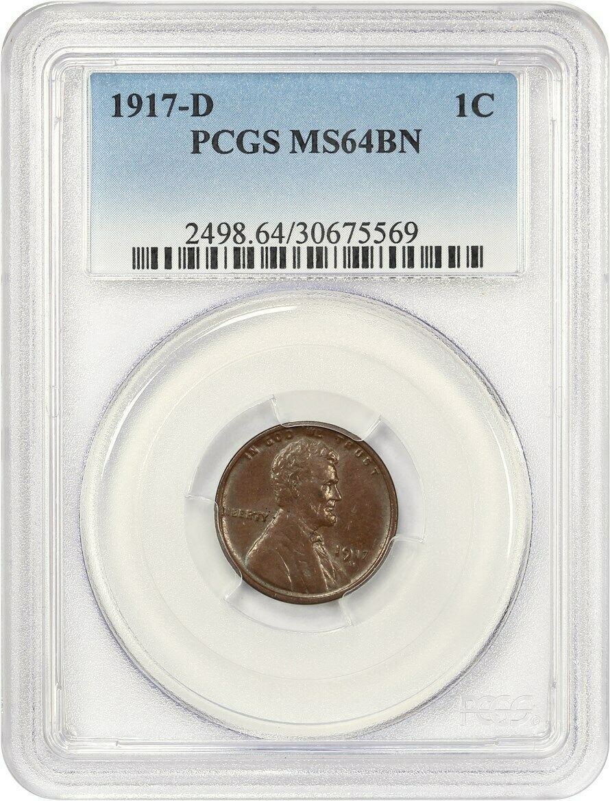 1917-D 1c PCGS MS64 BN - Lincoln Cent