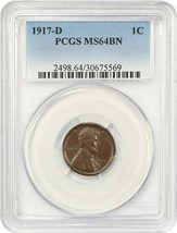 1917-D 1c PCGS MS64 BN - Lincoln Cent - $213.40