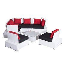 Luxury Wicker Garden Rattan Set Patio Sofa 2 Chairs Coffee Table Cushions White  image 7