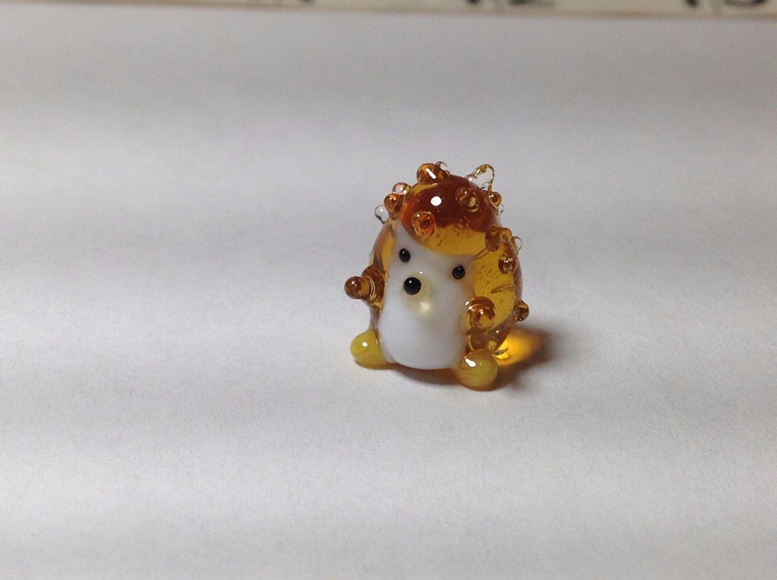 Miniature Glass gold and white hedgehog Handmade Blown Glass Made USA