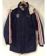 Vtg ADIDAS Navy Blue NYLON Quilted Parka Stadium long Coat Puffy Soccer L - $39.55