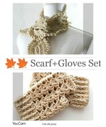 Scarf + Fingerless Gloves Set, Lace, handmade, Crochet, Knit, Gift, Winter - $42.57