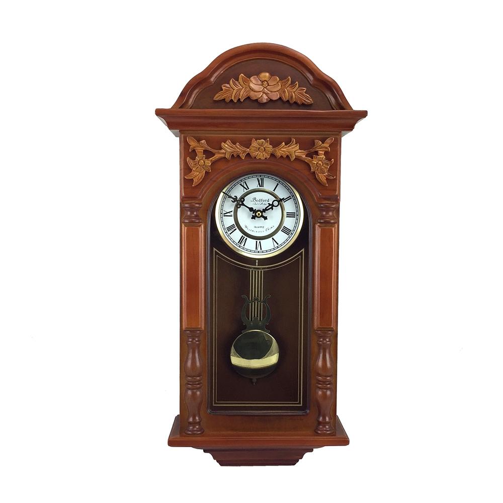 Bedford Clock Collection 27.5 Inch Oak Finish Pendulum Wall Clock
