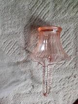 Light Pink Glass Basket Home Decor Multi Use Unusual Home Cabin Beach Ho... - $25.00