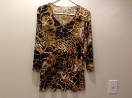 Ladies Brown Animal Print Pullover Blouse by Susan Graver Sz LG
