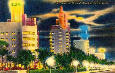Primary image for A Fantasy in Neon - Collins Ave - Miami Beach FL - Vintage Postcard Poster