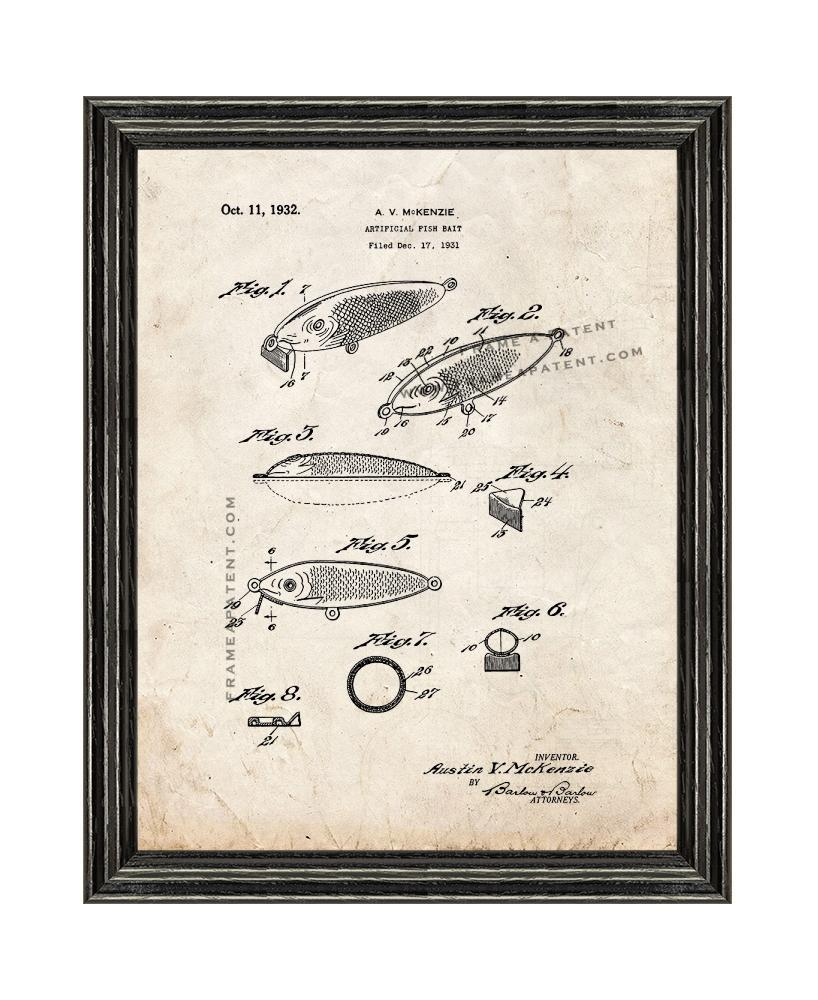 Primary image for Artificial Fish Bait Patent Print Old Look with Black Wood Frame