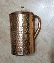 Pure Copper Jug pitcher With Lid Hand Hammered For Health Benefits Ayurveda - $18.99
