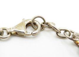 925 Sterling Silver - Vintage Flower Outlined Link Chain Bracelet - B6016 image 4