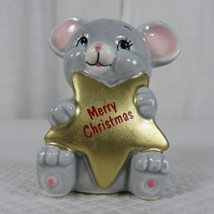 Vintage 80s Russ Berrie Merry Christmas Mouse Star Figurine - $29.66