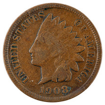 1908-S Indian Cent 1C Fine Condition Great Indian Head Penny! - $123.75