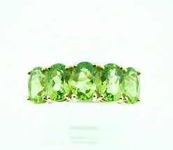 10k Yellow Gold Ring with Five Oval Genuine Natural Peridots (#J2311) - $295.00