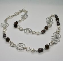 Necklace the Aluminium Long 88 Inch with Chalcedony Quartz White Pearls image 5