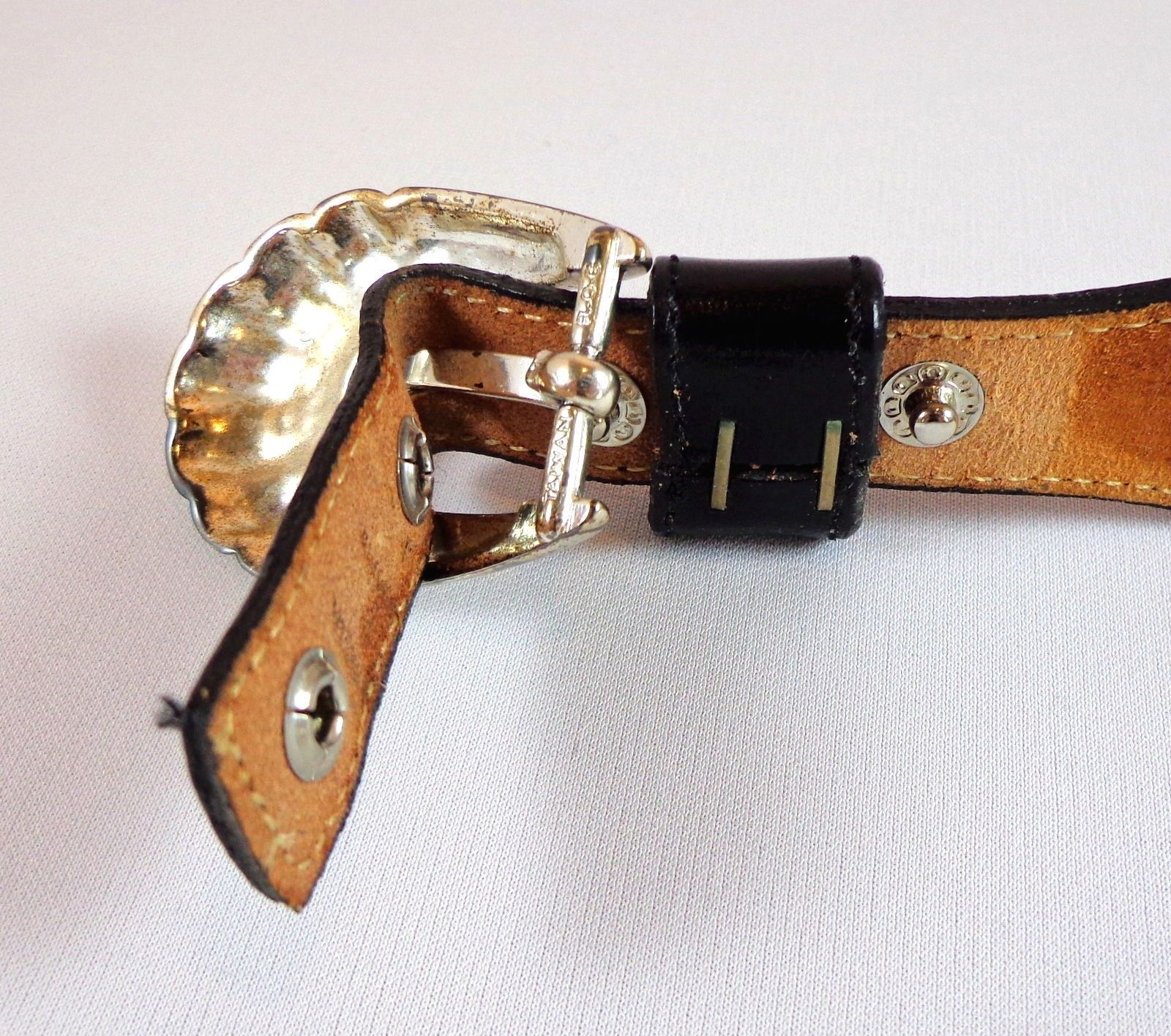Justin Cowhide Western Belt Womens Size 28 Black White with Conchos