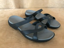 10 womens Authentic Crocs shoes flat sandals slip on black  - $32.50