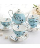 Blue Flower Bone China Ceramic Teaset Coffee Tea Cup Set Wedding Gifts - $247.40