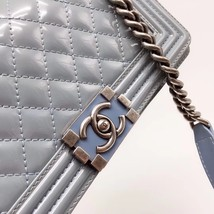Authentic Chanel Quilted Patent SKY BLUE RARE MEDIUM Boy Flap Bag  image 6