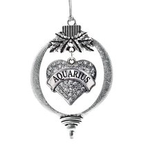 Inspired Silver Aquarius Zodiac Pave Heart Holiday Christmas Tree Ornament With  - €12,80 EUR